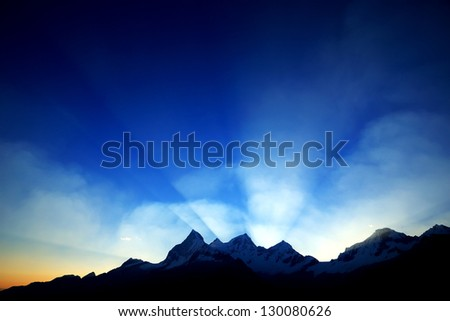 Sunset light over Cordiliera Blanca, Peru, South America