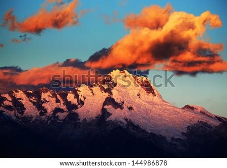 Sunset light over Cordiliera Blanca, Peru, South America