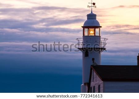 sunset, Lobster Cove Head Lighthouse, Rocky Harbour, Gros Morne National Park, Newfoundland & Labrador