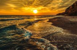 Sunset mountain sea beach landscape. Sunset beach view