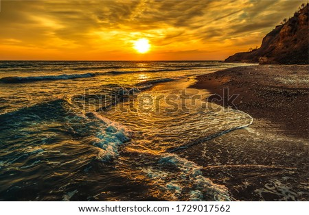 Sunset mountain sea beach landscape. Sunset beach view