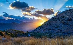 Sunset mountain valley landscape view