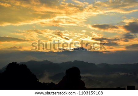 sunset, mountain view and mist at Pang Ma Pha, Mae Hong Son, Thailand, View of nature #1103159108