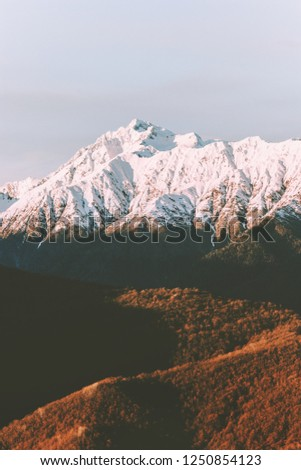 Sunset mountains range and forest Landscape Travel aerial view wilderness nature tranquil evening autumn scenery