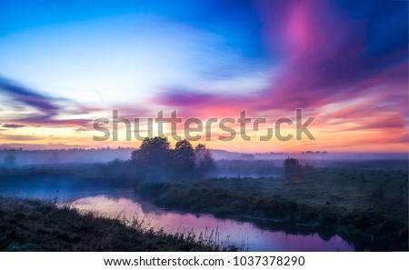 Sunset nature river fog landscape. Nature sunset river view