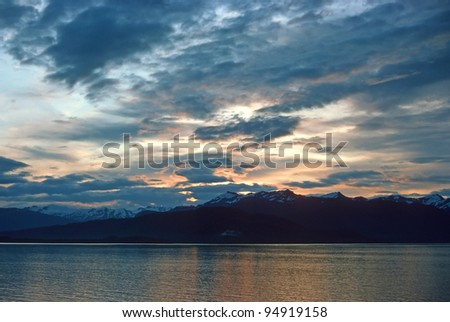 Sunset near Juneau, Alaska in the Inside Passage