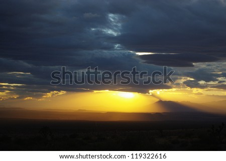 Sunset near Littlefield, Arizona, near Nevada and Utah border