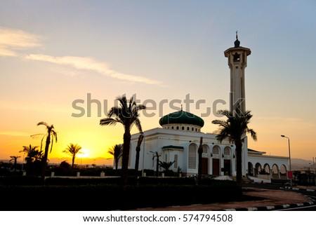 Sunset near Mubarak Mosque, Islamic. Egypt. Big mosque in Sharm-El-Sheikh #574794508