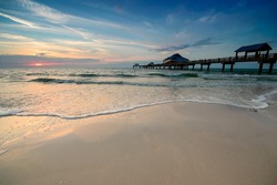 Sunset near Pier 60 on a Clearwater Beach, Florida, USA.