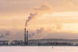 sunset near the pond in Votkinsk in winter.