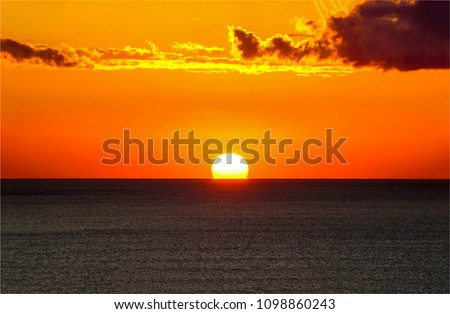 Sunset ocean horizon sky clouds sunset landscape #1098860243