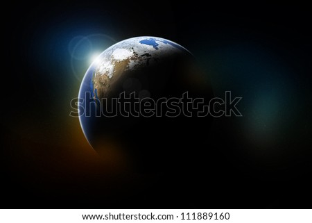 sunset of a planet from space. Elements of this image furnished by NASA