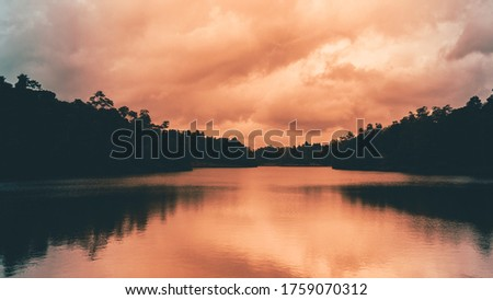 Photo of  sunset of Hiyare Reservoir water reflections