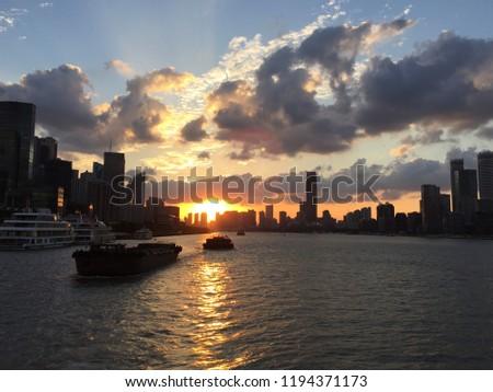 Sunset of Huangpu river in Shanghai, China #1194371173