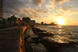 Sunset of Malecon in Havana, Cuba. Malecon mean seawall.