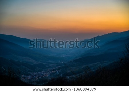 Sunset of the Jerte Valley with mist from the Port of Tornavacas_Cáceres_Spain Stock photo ©