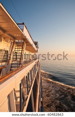 Sunset on a cruise ship on lake Onega, August 2010, Russia