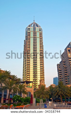 Sunset on a Highrise Building in Dubai