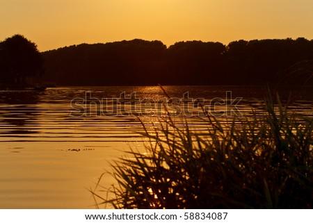 Sunset on a lake Zdjęcia stock ©