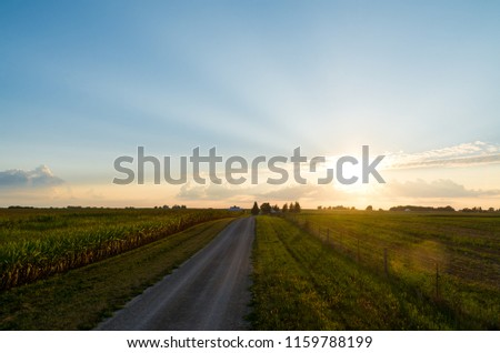 Sunset on a rural dirt road in the Midwest.  LaSalle County, Illinois, USA