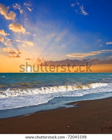 sunset on a sea beach