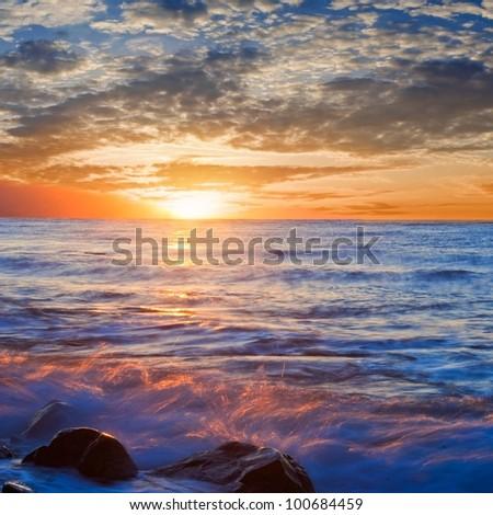 sunset on a sea coast
