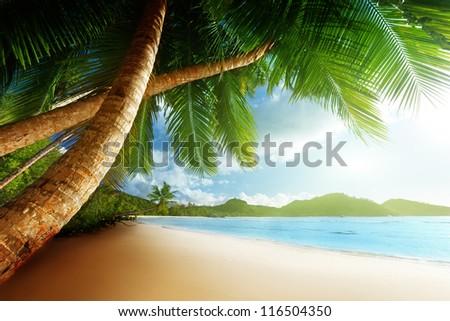 sunset on beach Anse Takamaka of Mahe island, seychelles