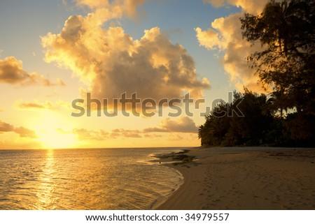 Sunset on Beach of a Tropical Island, Polynesia