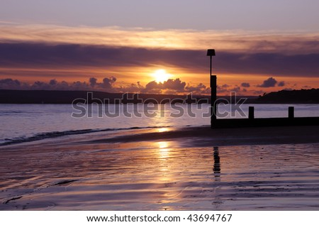Sunset on Bournemouth beach, Dorset (UK)