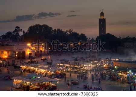 sunset on Djemaa El-fna place and koutoubia mosque, marrakesh, morocco