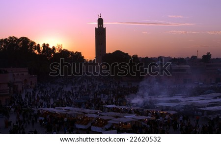 Sunset on Djemaa El-fna square and Koutoubia mosque, Marrakesh, Morocco