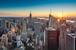 Sunset on downtown Manhattan neighborhood in New York City, United States of America.