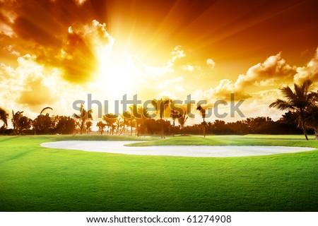 sunset on golf field