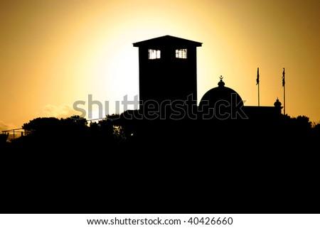 Sunset on jail of Robben Island - stock photo