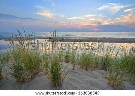 Sunset on Lake Michigan sand dunes near Pentwater