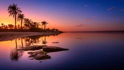 Sunset on Lake Qarun, Fayoum, Egypt