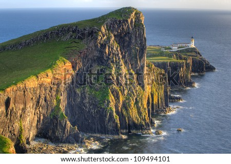 Sunset on Lighthouse at Neist Point, Isle of Skye, Scotland