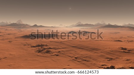 Sunset on Mars. Martian landscape. 3D illustration