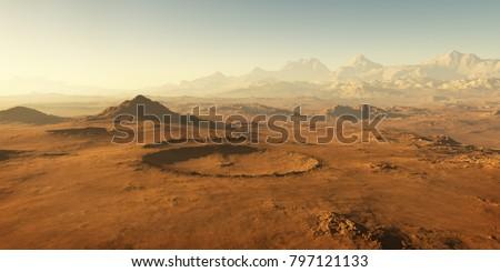 Sunset on Mars, Martian landscape. 3D illustration