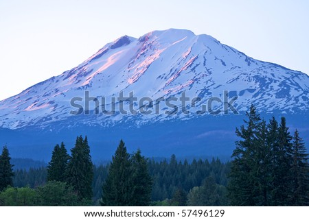 Sunset on Mount Adams, Washington - stock photo