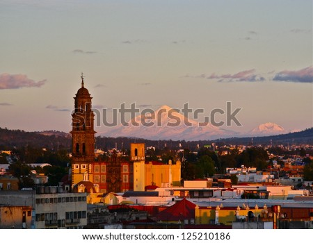 Sunset on mountain over Puebla