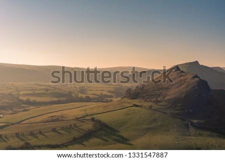 Sunset on Parkhouse Hill and Chrome Hill from Hitter Hill in the Peak District National Park. #1331547887