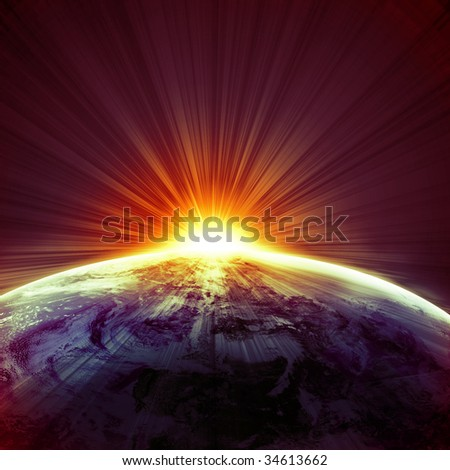 sunset on planet earth in outer space