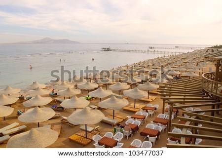 Sunset on resort beach