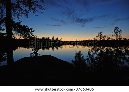 Sunset on Saganagons Lake in the Quetico Wilderness