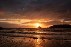 Sunset on Saint Malo beach