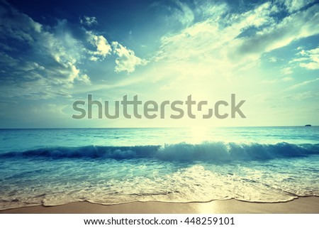 sunset on Seychelles beach #448259101