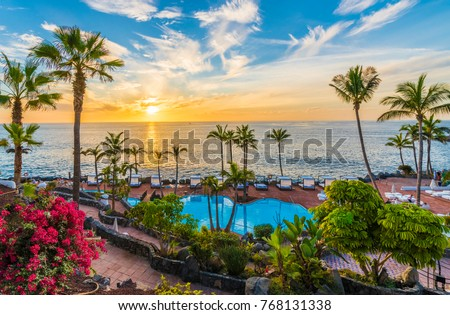 Sunset on the Adeje coast, Tenerife, Spain #768131338