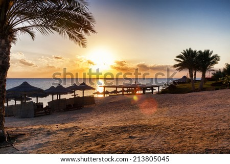sunset on the beach #213805045