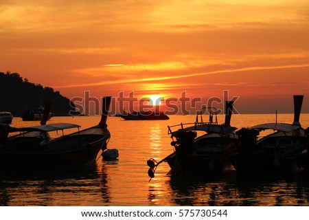 Sunset on the Beach beautiful Vacation in tropical countries.  #575730544